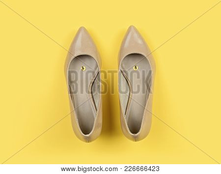 Classic Women's Beige Shoes With Pushpin On Yellow