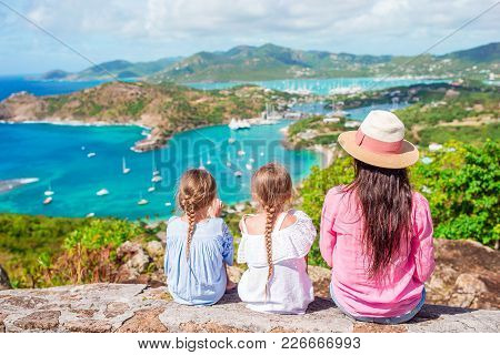 View Of English Harbor From Shirley Heights, Antigua, Paradise Bay At Tropical Island In The Caribbe