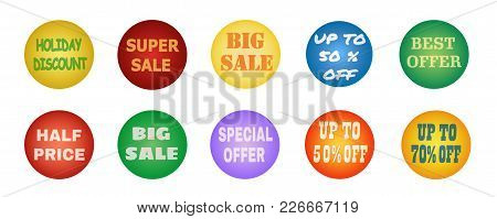 Balls With Promotional Offers, Seasonal And Holiday Sale. Suitable For Discount Cards, Advertisement