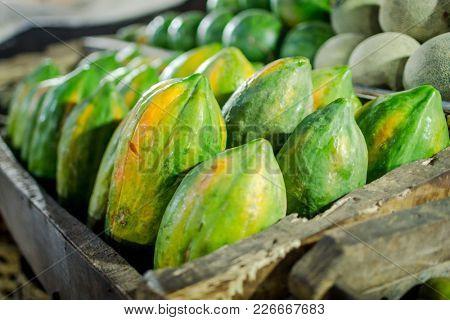 Green papaya on one of Bali markets