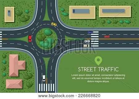 Roundabout Road Junction And City Transport, Vector Flat Illustration. City Road, Cars, Crosswalk, T