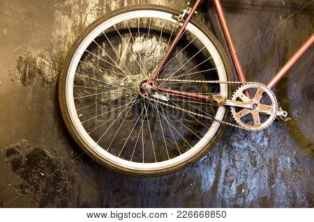 Sport, Lifestyle, Technology Concept. Close Up Of Details Of Old Fashioned Bicycle With Clean Wheel,
