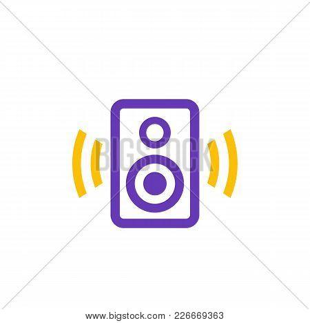 Audio Speaker Icon On White, Eps 10 File, Easy To Edit
