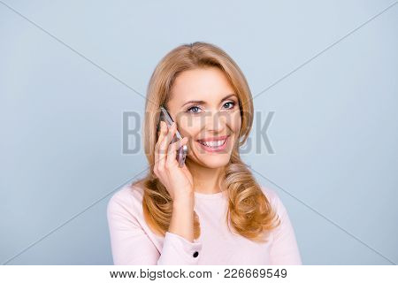 Close Up Portrait Of Happy Joyful Cheerful Beautiful Mature With Toothy Beaming Smile Woman Having A