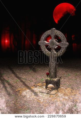 Celtic Stone Cross With A Rose And A Skull With A Creepy Forest Behind. 3d Illustration