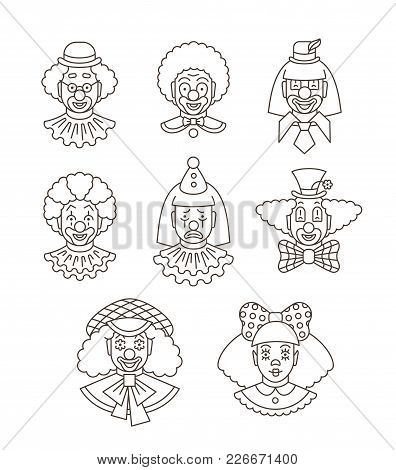 Clown Faces Different Thin Line Avatars. Vector Flat Linear Icons. Cartoon Illustration. Circus Men
