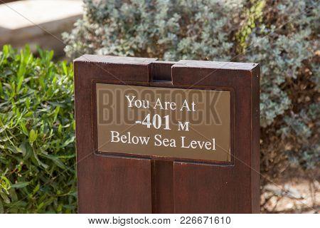 Dead Sea, Earth's Lowest Elevation On Land