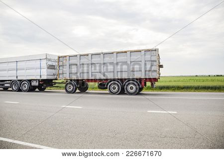Freight Vehicles On The Track. Freight Car. Truck