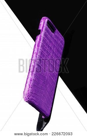 Exclusive Ultraviolet Crocodile Leather Case For Smartphone.luxury Case. On Black And White Backgrou