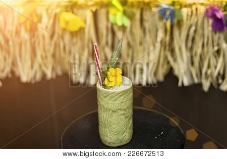 Nice Tropical Cocktail With A Lot Of Ice, Close Up