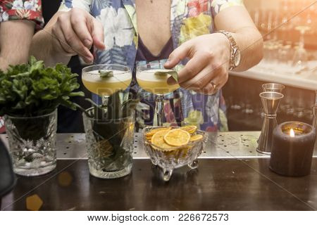 Tropical Cocktails, Barman Is Working, Noisy Party
