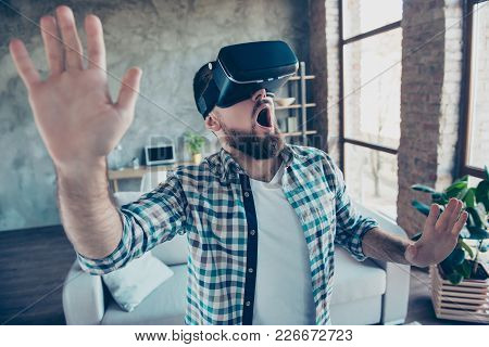 Bearded, Shocked, Wondered Man In Shirt With Open Mouth In Motion, Getting Experience Wearing Vr Gog