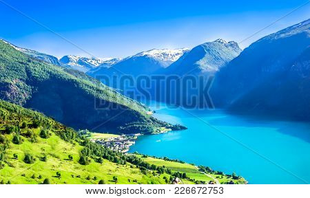 View On Spring Landscape And Aurlandsfjord In Norway