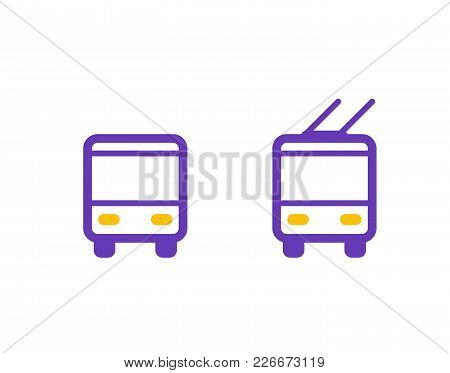 Bus And Trolleybus Icons, Passenger Transport, Eps 10 File, Easy To Edit