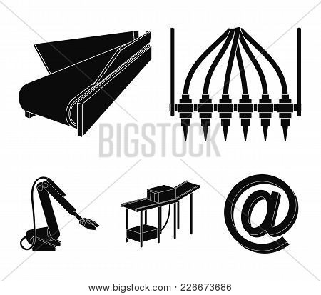 Modern Equipment And Other  Icon In Black Style.machine Tools And Equipment Factory Icons In Set Col