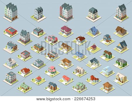 Vector Isometric Buildings Set. Isolated On Blue Background. Isometric Image Of A Private House Set