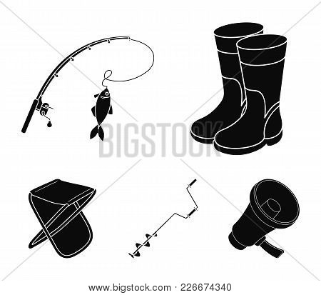 Fishing, Fish, Catch, Fishing Rod .fishing Set Collection Icons In Black Style Vector Symbol Stock I