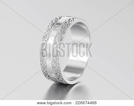 3d Illustration White Gold Or Silver Decorative Wedding Bands Carved Out Ring With Ornament On A Gra