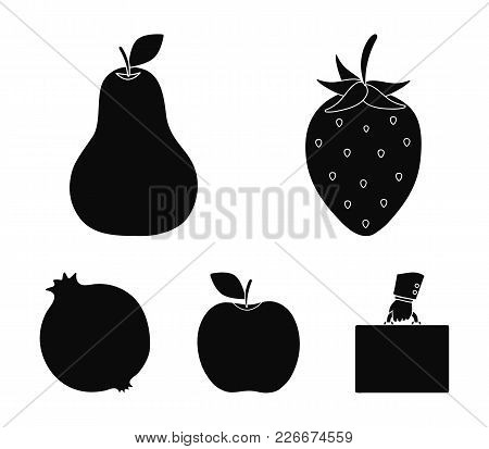 Strawberry, Pear, Apple, Pomegranate.fruits Set Collection Icons In Black Style Vector Symbol Stock