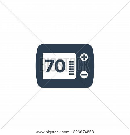 Thermostat Icon Isolated On White, Eps 10 File, Easy To Edit