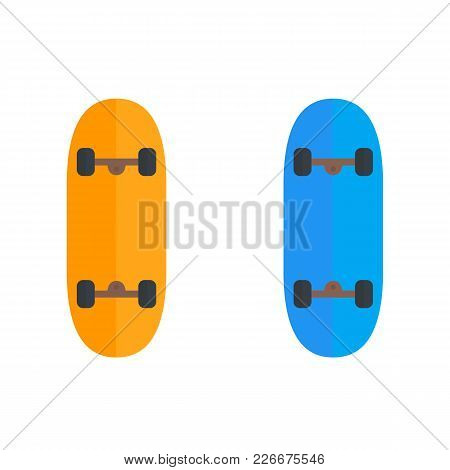 Skateboard Icons Isolated On White, Eps 10 File, Easy To Edit