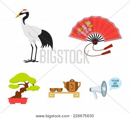 Fan, Red Crown Crane, Tea Ceremony, Bonsai.japan Set Collection Icons In Cartoon Style Vector Symbol