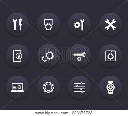 Settings, Configuration, Development, Service Icons Set, Eps 10 File, Easy To Edit
