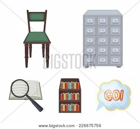 Cabinet With Filing Cabinet, Chair, Shelves, Information Search. Library And Bookstore Set Collectio