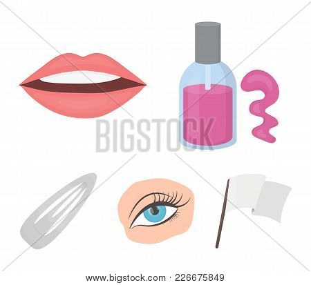 Nail Polish, Tinted Eyelashes, Lips With Lipstick, Hair Clip.makeup Set Collection Icons In Cartoon