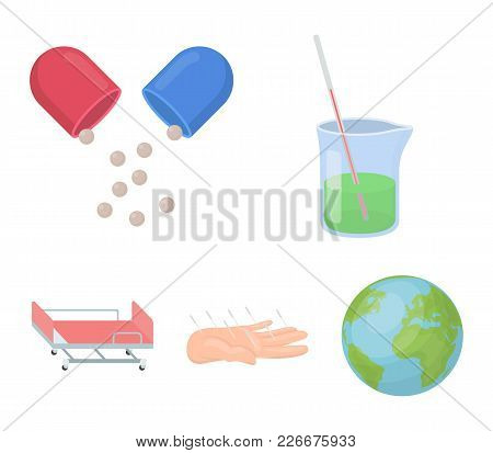 Solution, Tablet, Acupuncture, Hospital Gurney.medicine Set Collection Icons In Cartoon Style Vector