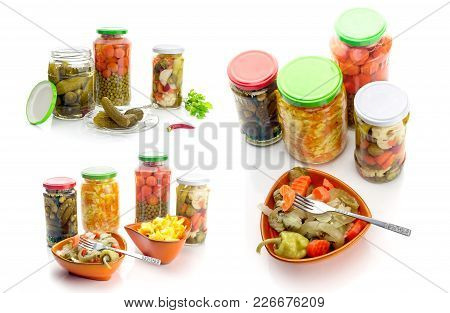 Collage. Different Marinated Vegetables In Cans And Bowls On White Background Close-up.