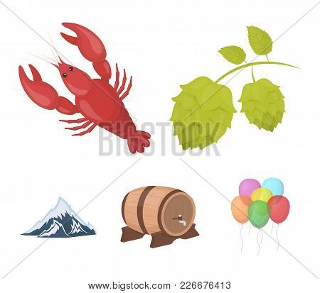 Alps, A Barrel Of Beer, Lobster, Hops. Oktoberfest Set Collection Icons In Cartoon Style Vector Symb
