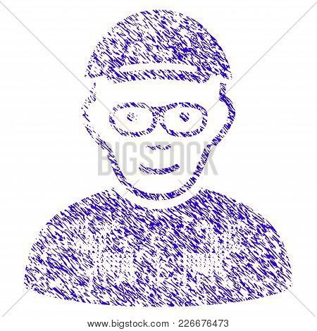Grunge Nerd Guy Rubber Seal Stamp Watermark. Icon Symbol With Grunge Design And Dust Texture. Unclea