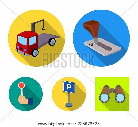 Transmission Handle, Tow Truck, Parking Sign, Stop Signal. Parking Zone Set Collection Icons In Flat
