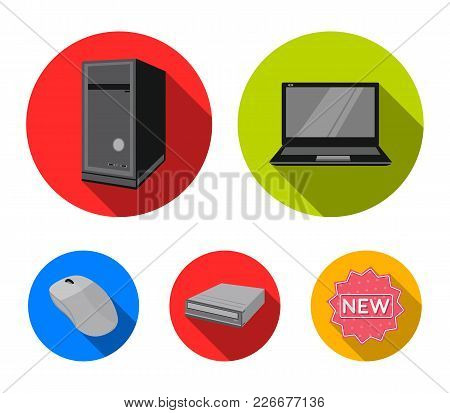 Laptop, Computer Mouse And Other Equipment. Personal Computer Set Collection Icons In Flat Style Vec