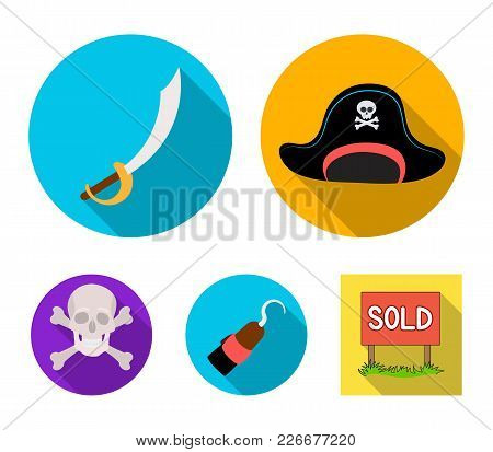 Pirate, Bandit, Cap, Hook .pirates Set Collection Icons In Flat Style Vector Symbol Stock Illustrati