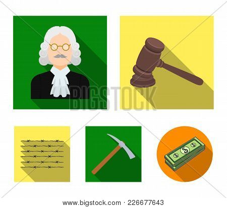 Judge, Wooden Hammer, Barbed Wire, Pickaxe. Prison Set Collection Icons In Flat Style Vector Symbol