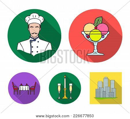 Ice Cream With Fruit, Chef, Candle And Glasses, A Covered Table.restaurant Set Collection Icons In F