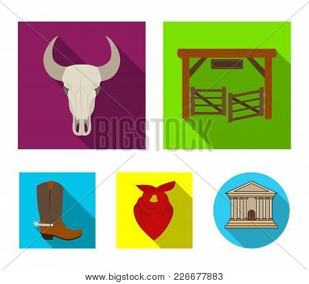 Gates, A Bull's Skull, A Scarf Around His Neck, Boots With Spurs. Rodeo Set Collection Icons In Flat