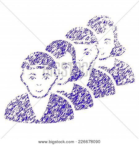 Grunge People Queue Rubber Seal Stamp Watermark. Icon Symbol With Grunge Design And Unclean Texture.