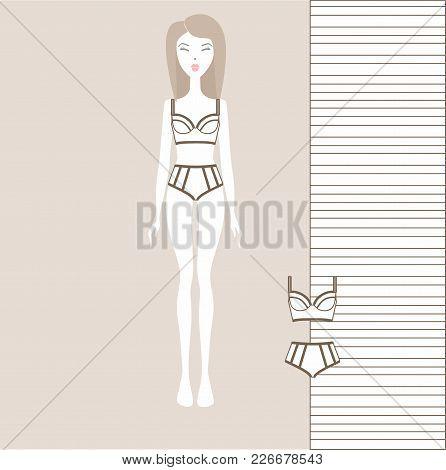 A Set Of Lingerie Dressed For A Girl. Panties, Bra, Underwear, Cotton Underwear
