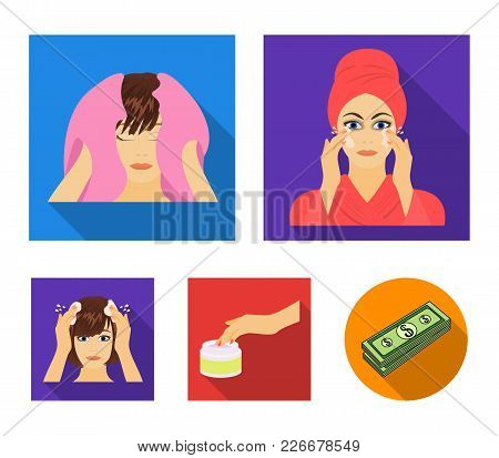 Cosmetic, Salon, Hygiene, And Other  Icon In Flat Style. Napkin, Hygienic, Hairdresser, Icons In Set