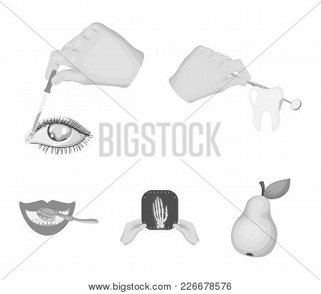 Examination Of The Tooth, Instillation Of The Eye And Other  Icon In Monochrome Style. A Snapshot Of