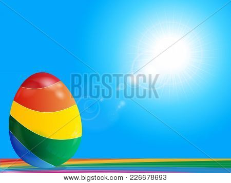3d Illustration Of Colourful Easter Egg On Rainbow Surface Over Blue Sunny Sky With Lens Flares