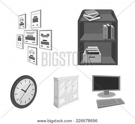Cabinet, Shelving With Books And Documents, Frames On The Wall, Round Clocks. Office Interior Set Co