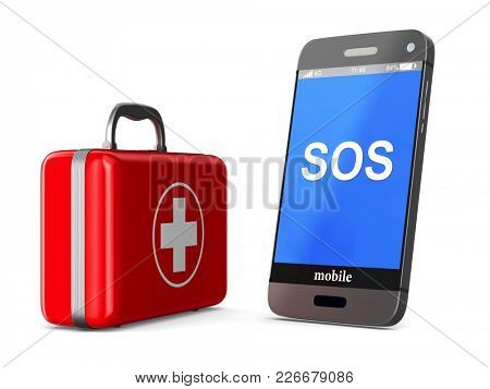 first aid kit and phone on white background. Isolated 3D illustration