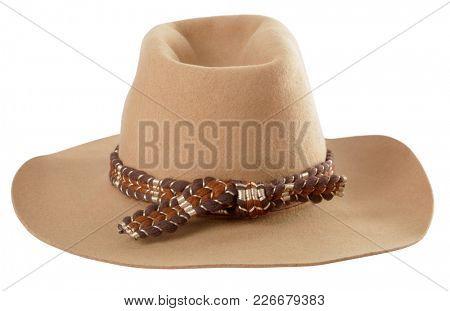 Adventurer's beige fedora hat