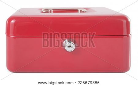 Red metal box with lock for money or jewelry with handle