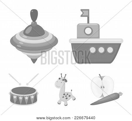 Ship, Yule, Giraffe, Drum.toys Set Collection Icons In Monochrome Style Vector Symbol Stock Illustra