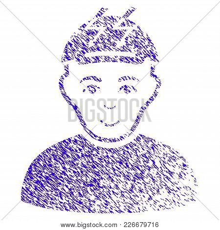 Grunge Headache Person Rubber Seal Stamp Watermark. Icon Symbol With Grunge Design And Unclean Textu